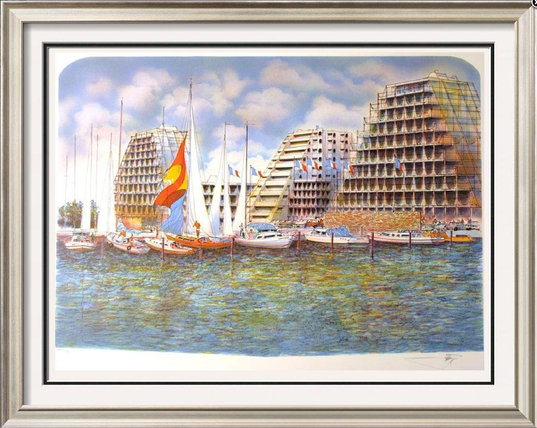 EMMIT ARCHITECTUAL LITHOGRAPH HARBOUR SCENE SIGNED