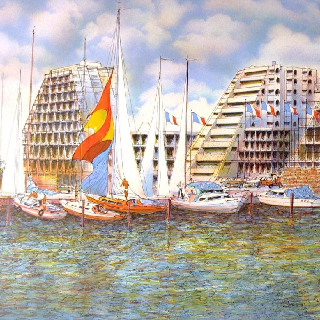 EMMIT ARCHITECTUAL LITHOGRAPH HARBOUR SCENE SIGNED - 2