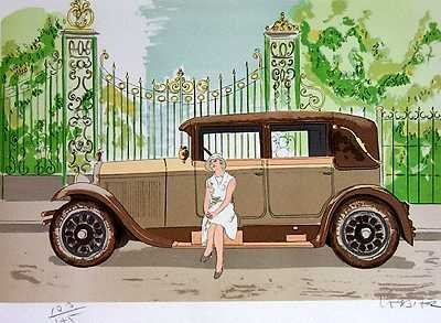 556: Delahaye Art Deco Style Car Art Only $25 Huge Sale