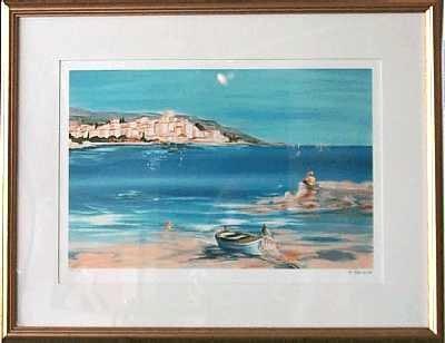 2020: Framed Mediterranean Seascape Signed Ltd Ed Art