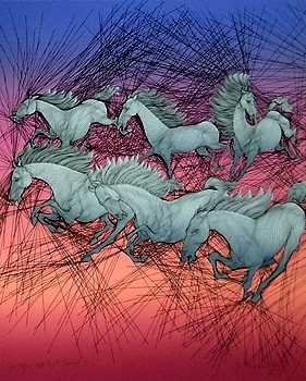 3545: Colorful Azoulay Horses Hand Signed Wholesale Art