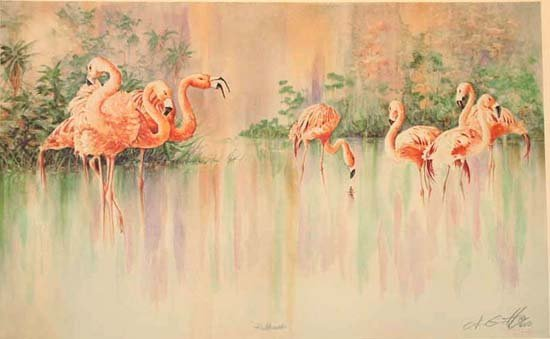 1652C: Pink Flamingos Limited Ed Colorful Everglade Sce