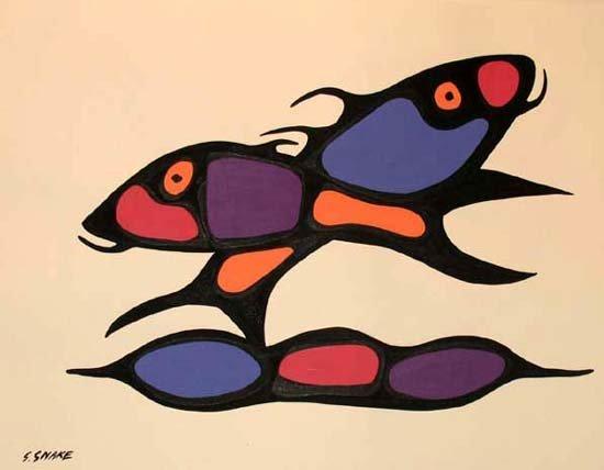 3344C: RARE Fish Abstract Original Painting Colorful Ar