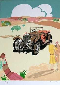 558E: Vauxhall Automobile Deco Style Colorful Art Sale