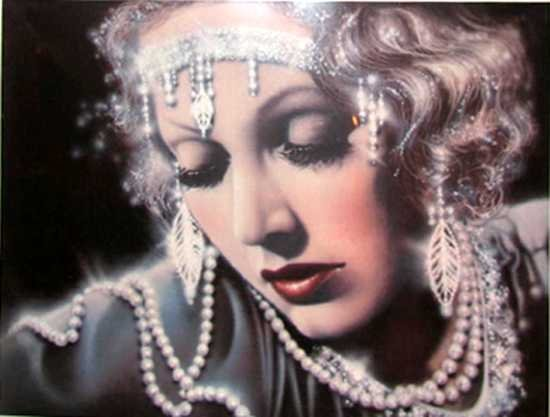 606F: Deco Art Lady Pearls Pencil Signed Limited Editio