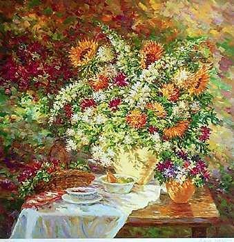 1956F: Ltd Ed Hand Signed Flowers Garden Country Scene