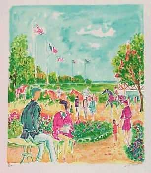 1969F: At the Races Watercolor Style Impressionism