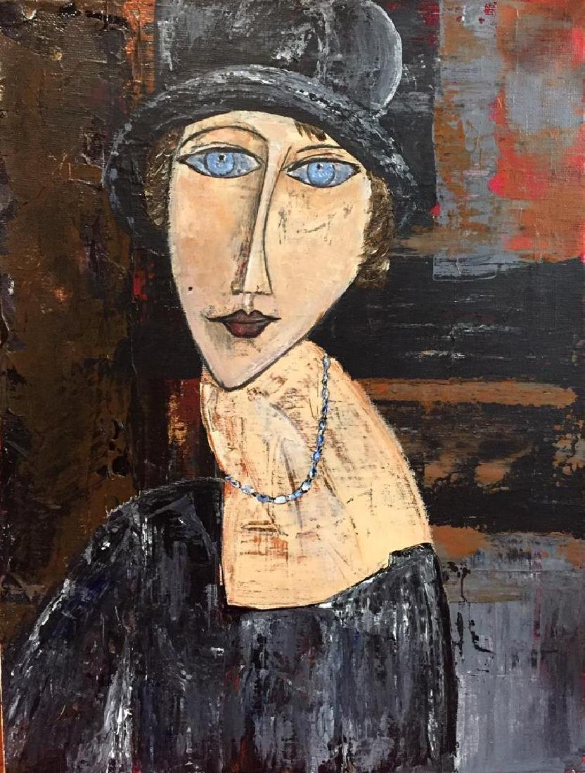 Hat & Necklace Original Painting Swahn Signed Canvas - 2