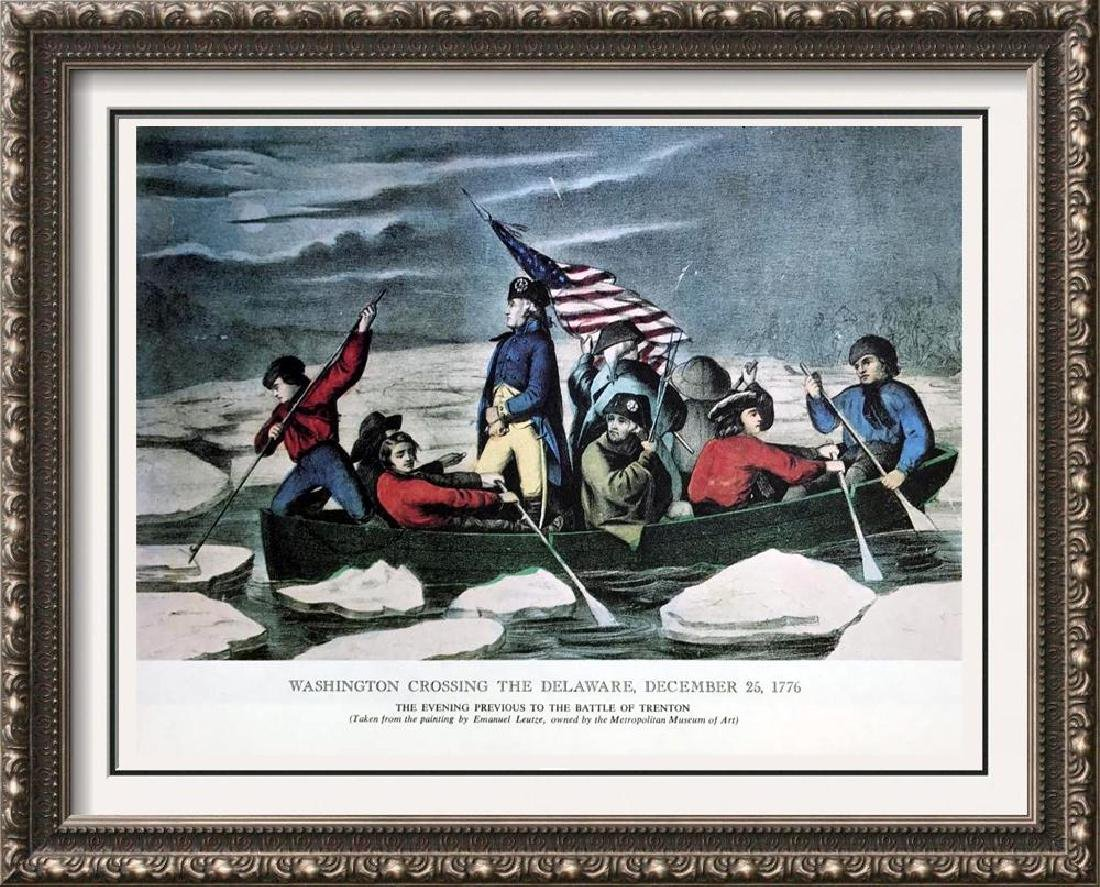 Washington Crossing The Delaware Color Lithographic