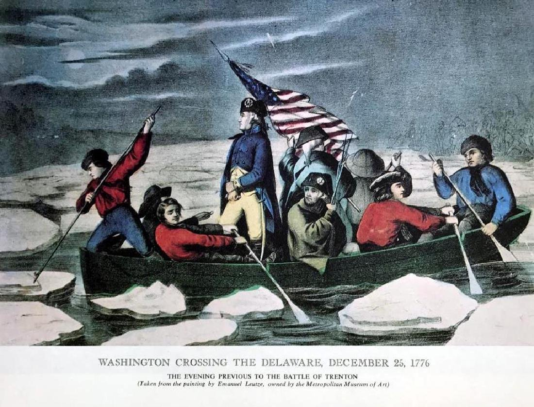 Washington Crossing The Delaware Color Lithographic - 2