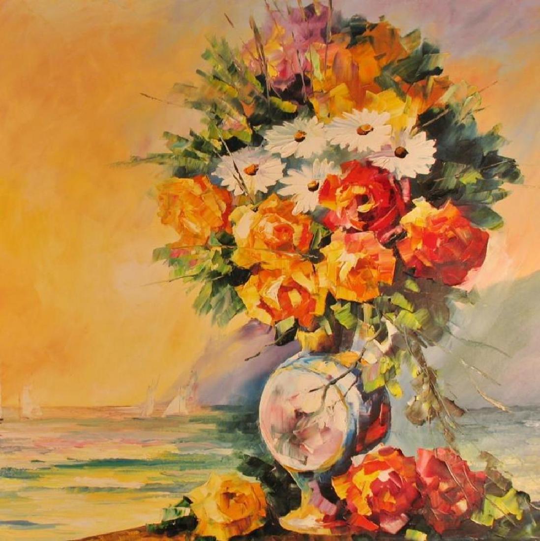 Landscape Ocean Scene W/Floral Textures Original - 3