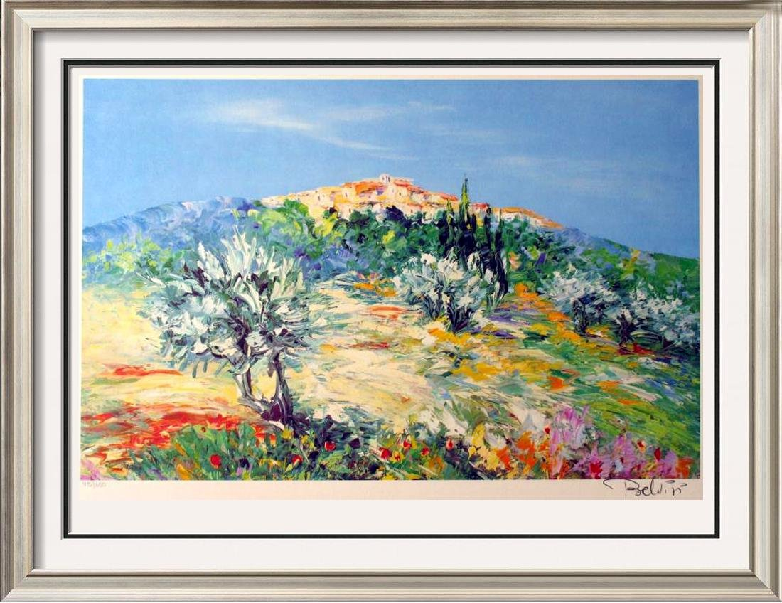 COLORFUL LANDSCAPE SIGNED LIMITED EDITION LITHOGRAPH ON