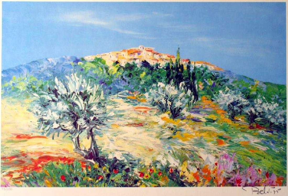 COLORFUL LANDSCAPE SIGNED LIMITED EDITION LITHOGRAPH ON - 2
