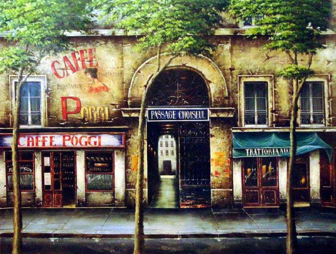 Fantastic Paris Street Scene Signed Painting on Canvas