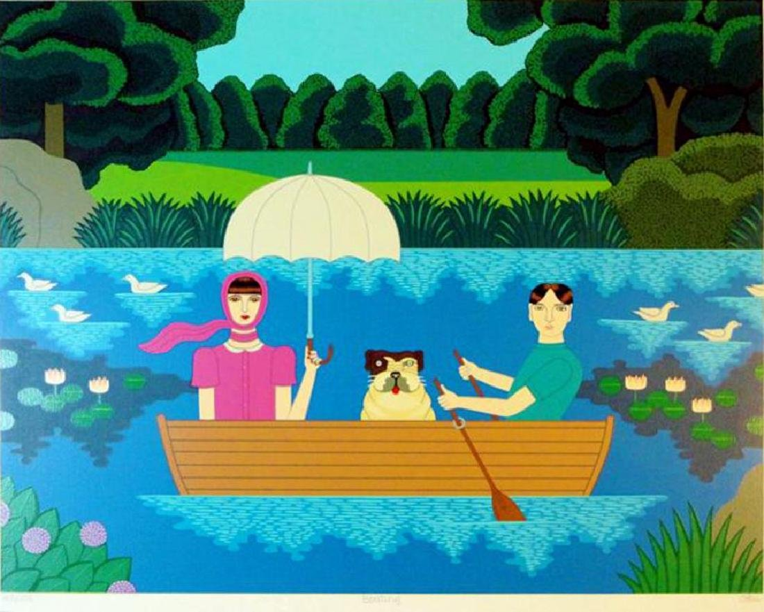 Okumura Boating Couple & Dog Pop Abstract Colorful - 2