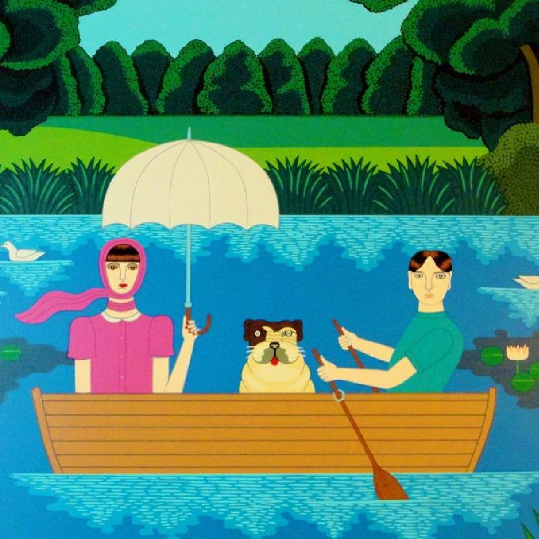Okumura Boating Couple & Dog Pop Abstract Colorful - 3