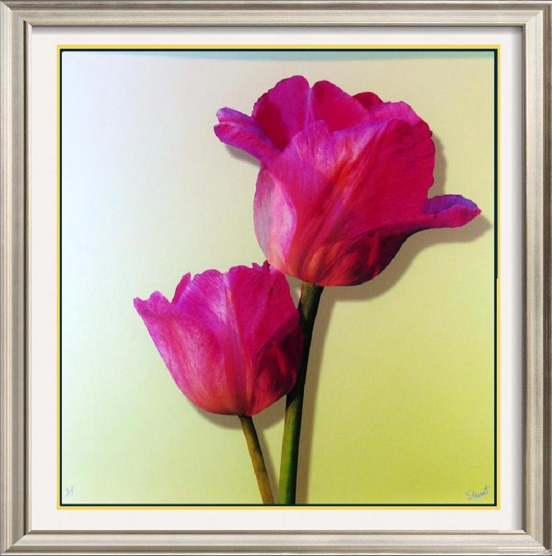 Colorful Jewel Tone Floral On Canvas Large Giclee