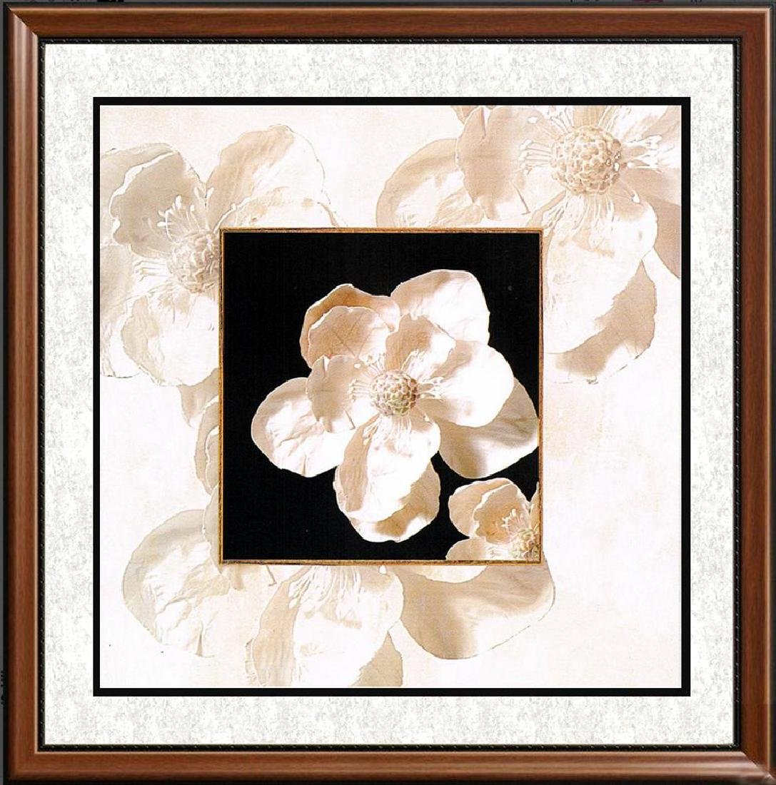 White Floral On Canvas Giclee Great Value!