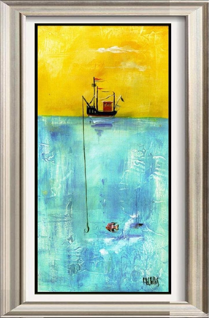 Fishing Colorful Modern CANVAS ART Giclee SALE