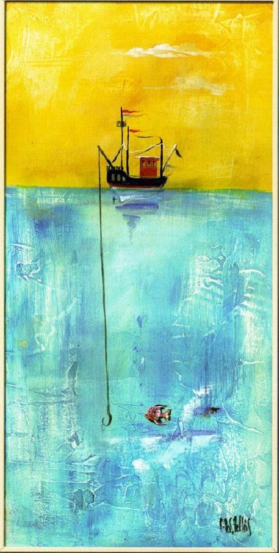 Fishing Colorful Modern CANVAS ART Giclee SALE - 2