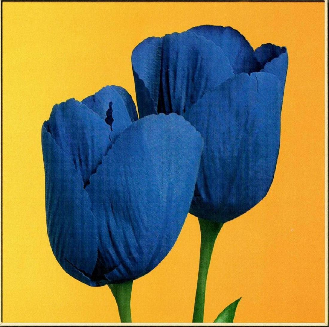 Blue Tulips On Gold Canvas Colored Giclee Sale - 2