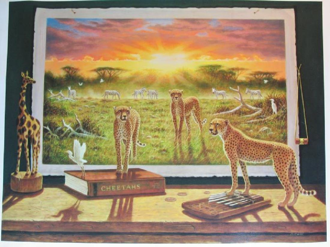 Cheetah Ltd Ed Large Canvas Newell Realistic Surreal