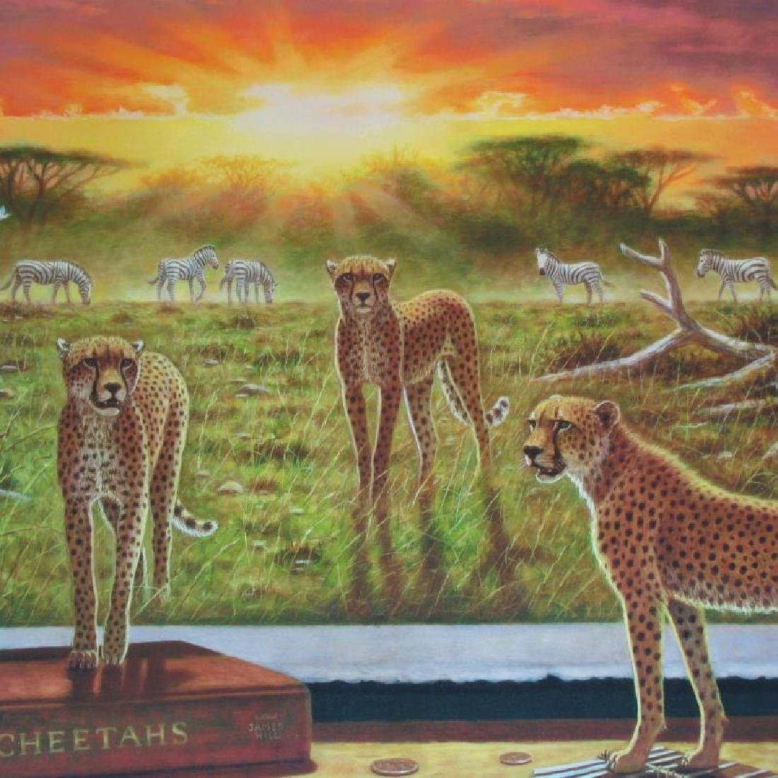 Cheetah Ltd Ed Large Canvas Newell Realistic Surreal - 2