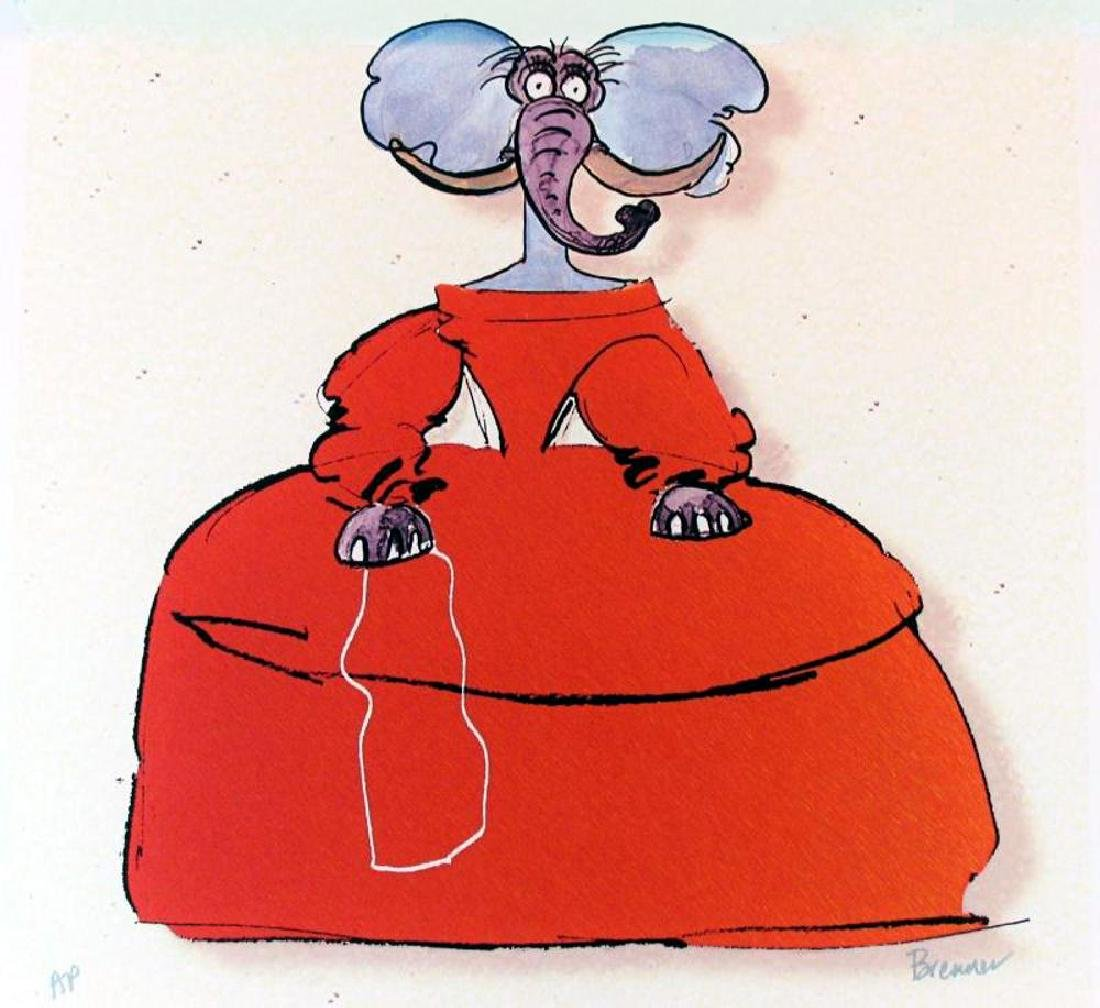 Elephant Whimsical Colorful Giclee on Canvas - 2