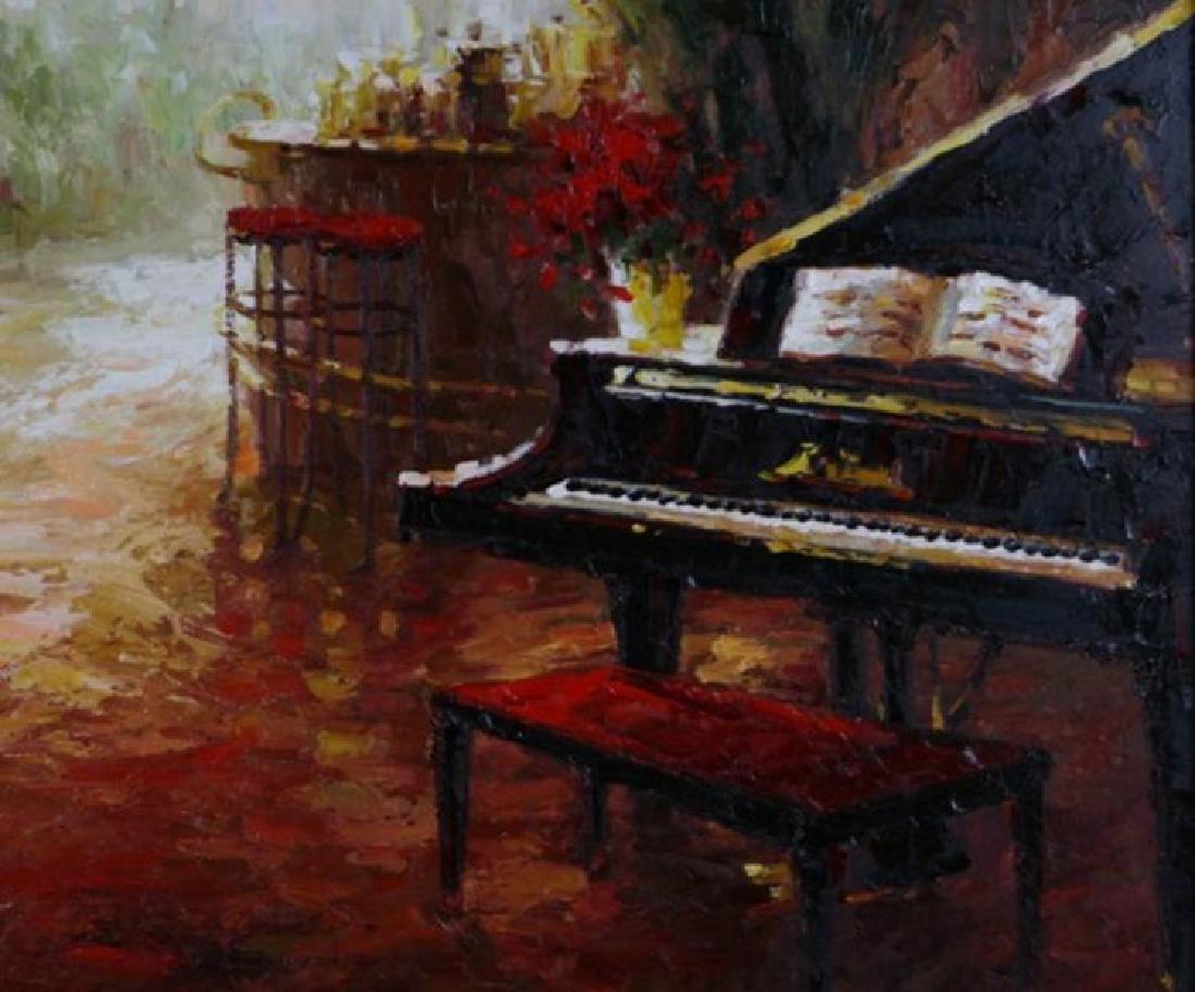 Piano Café Scene RED Vibrant Colorful Impressionism - 2