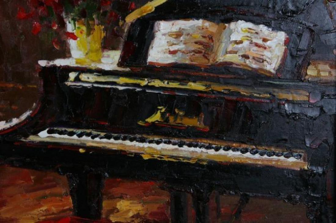 Piano Café Scene RED Vibrant Colorful Impressionism - 3