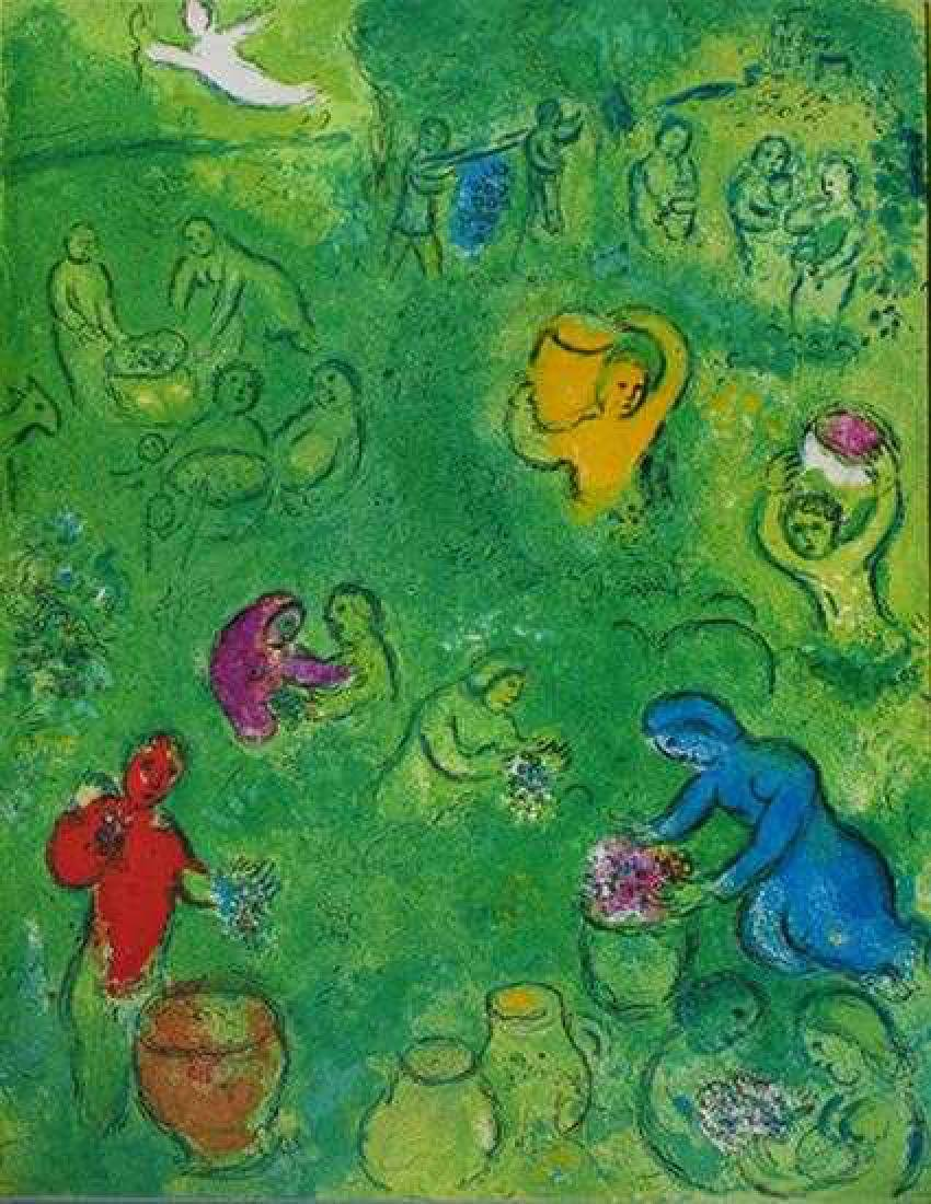 "Chagall ""After"" Colored Lithograph Rare Sale Huge - 2"