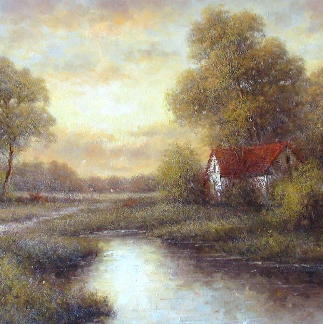 Traditional Village Texture Landscape Framed Acrylic - 2