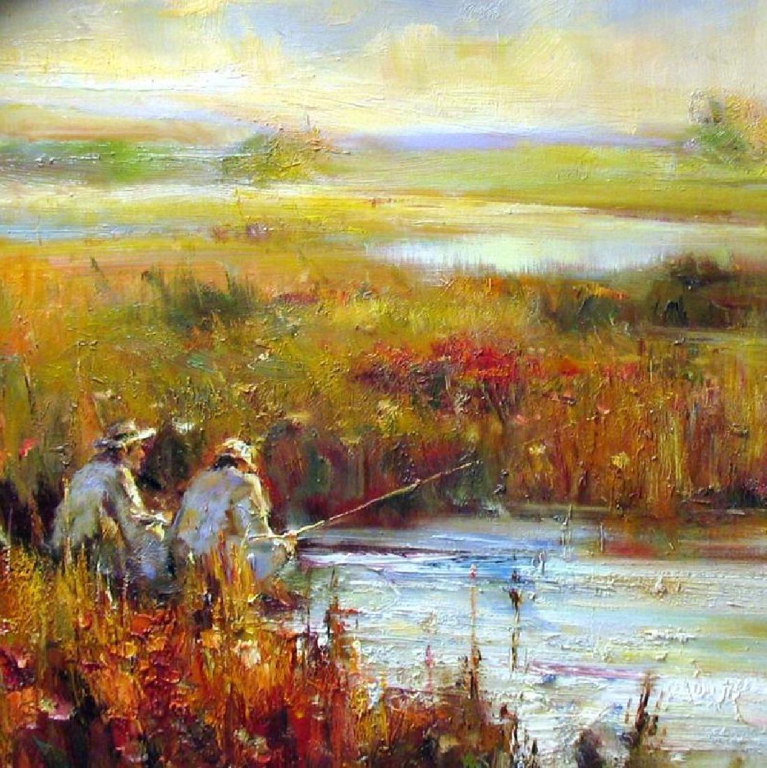 Fishing Acrylic LARGE Frame ORIGINAL Art DEALER - 2