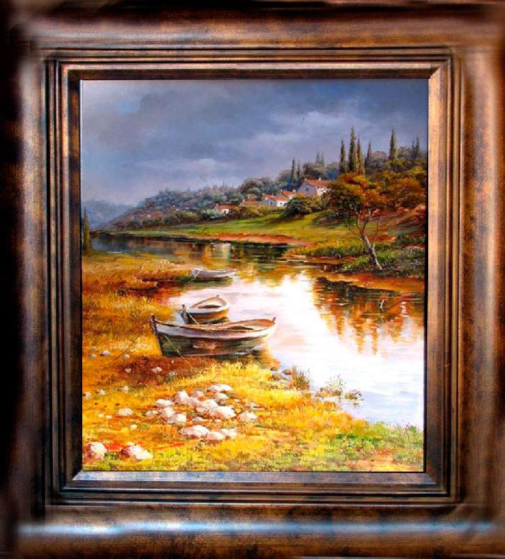Water Boat Scene Detailed SIGNED Painting Canvas