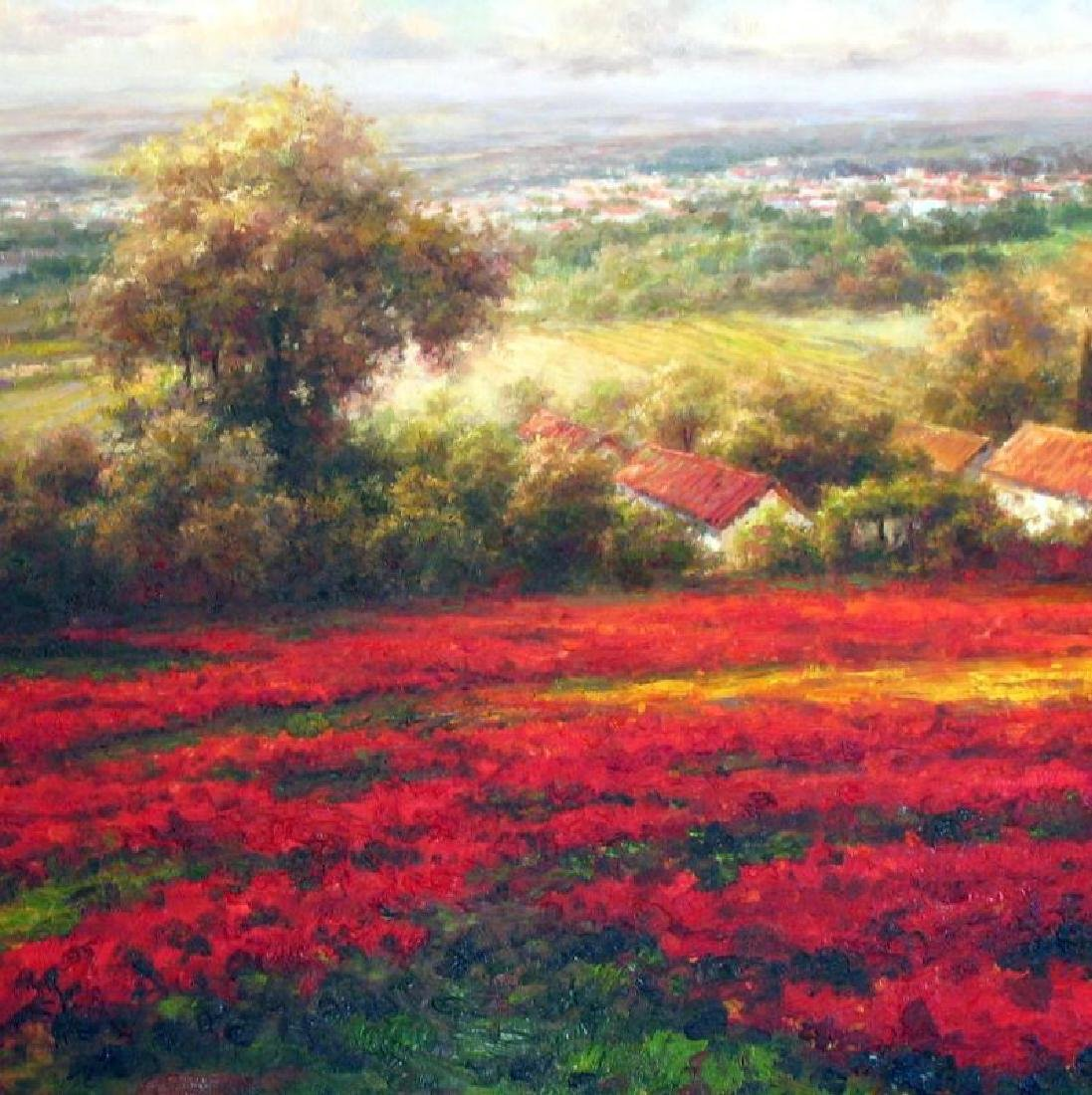 Poppy Fields Colorful Textured Original Frame Painting - 2