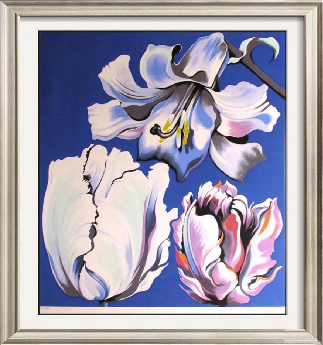 Nesbitt 3 Tulips On Blue Signed Ltd Ed Serigraph