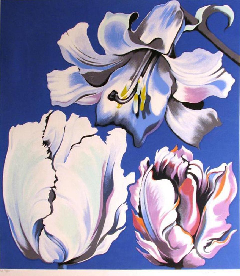 Nesbitt 3 Tulips On Blue Signed Ltd Ed Serigraph - 2