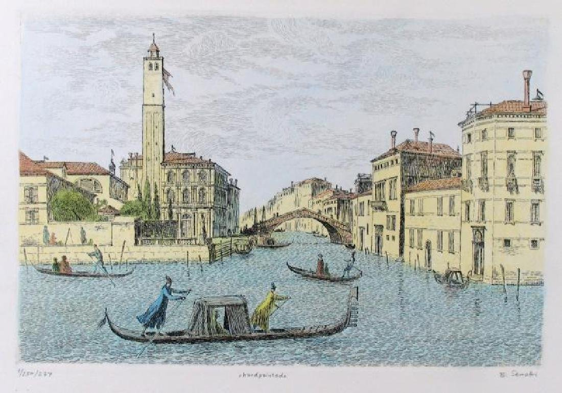 Colored Signed # Etching Original Old World Scene - 2
