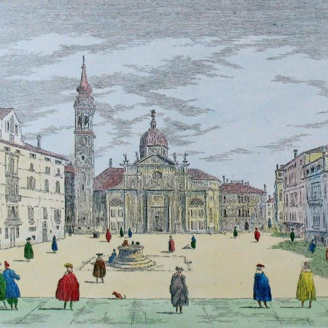 Colored Signed # Etching Original Old World Scene - 3
