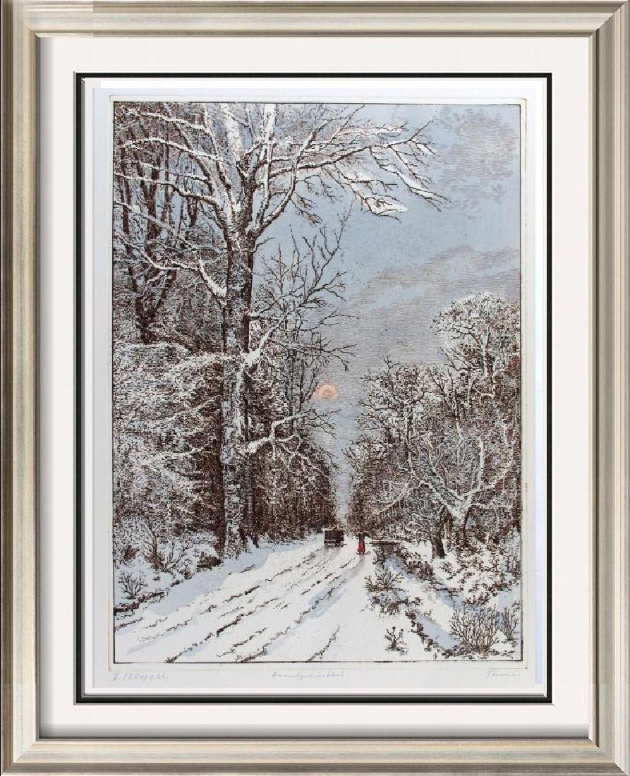 Winter Scene Original Etching Colored Ltd Ed Rare