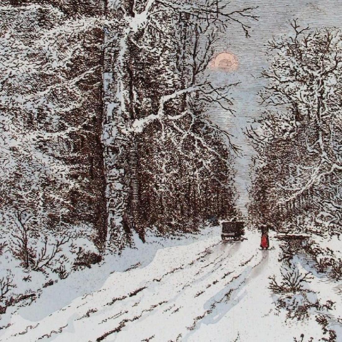 Winter Scene Original Etching Colored Ltd Ed Rare - 3