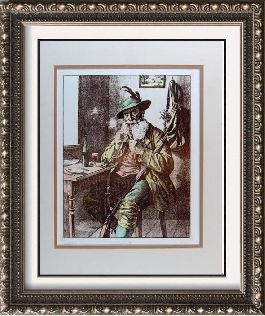 Hunting Colored Etching Signed Rare Dealer Sale