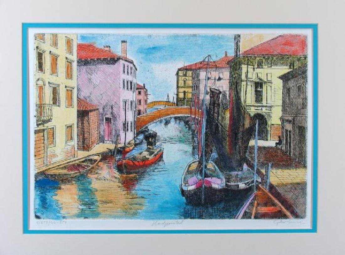 Beautiful Colorful Etching Signed Limited Ed Venice - 2
