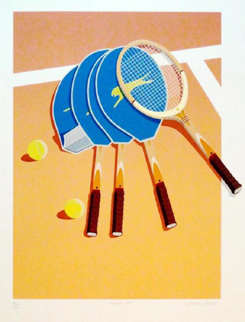 Tennis Lithograph Modern Style Colorful  Signed Limited - 3