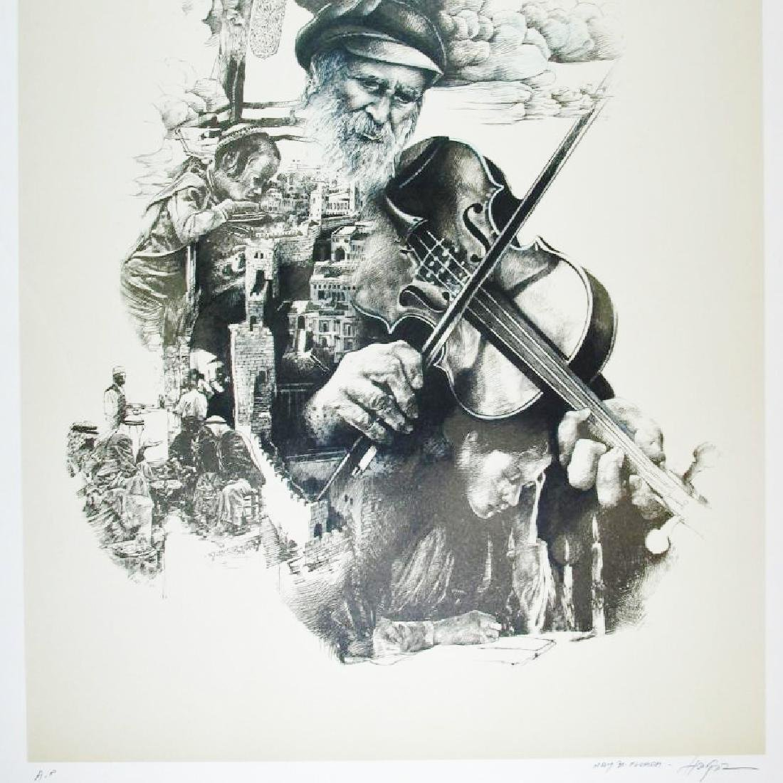 Litho Signed Old Man playing Violin Detailed Limited - 4