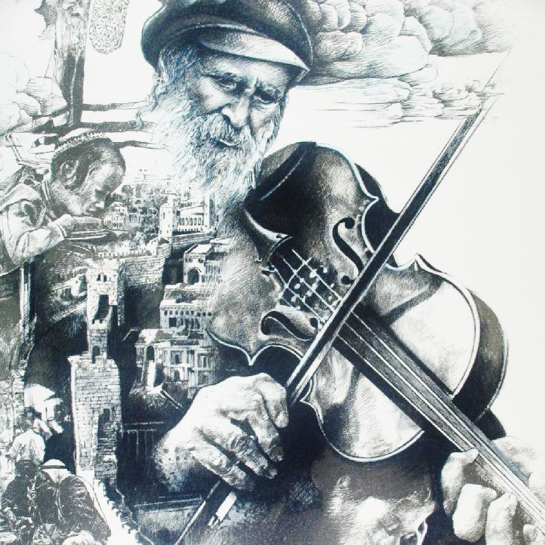 Litho Signed Old Man playing Violin Detailed Limited - 5