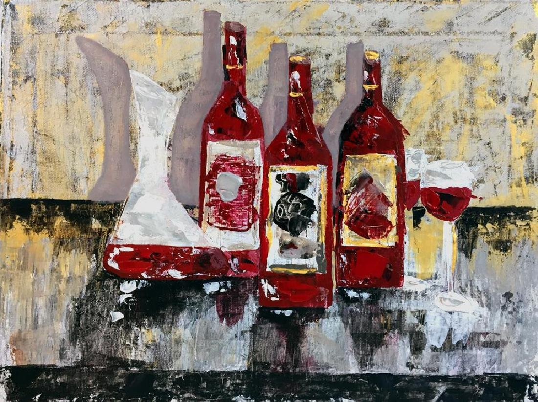 Original Painting on Canvas Wine Themed Landscape - 2