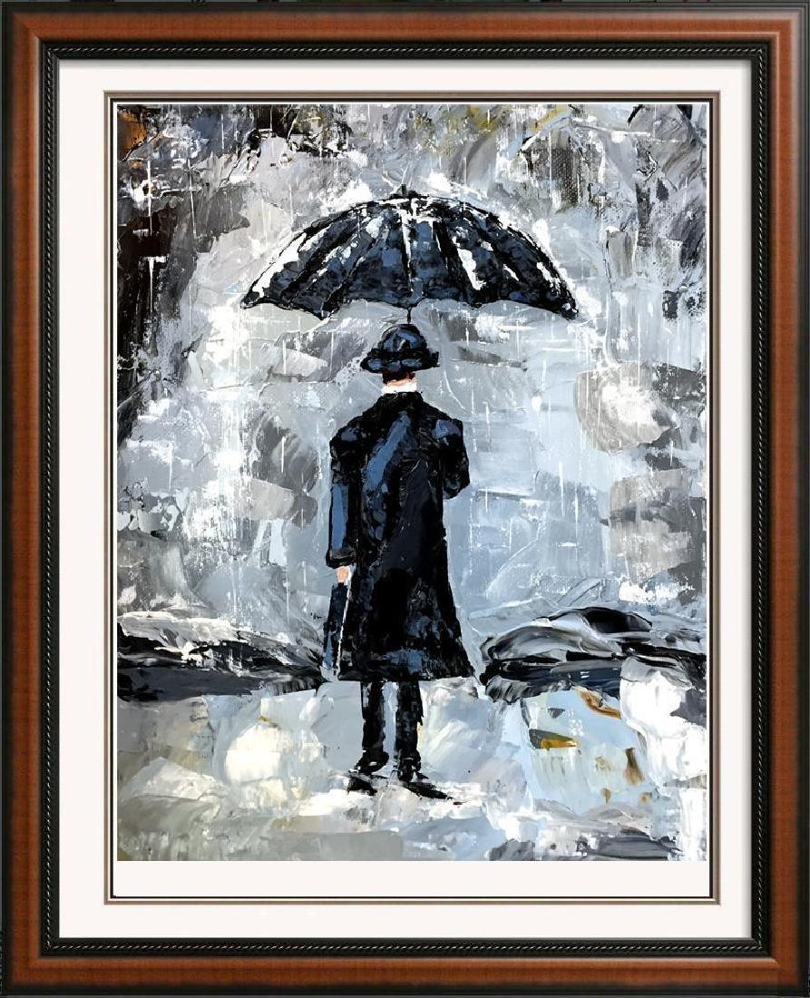 Man with Umbrella Textured Signed Original Palette