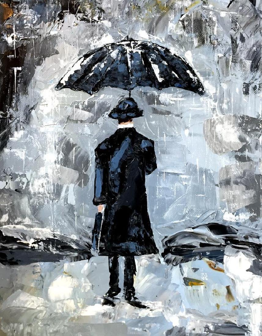 Man with Umbrella Textured Signed Original Palette - 2