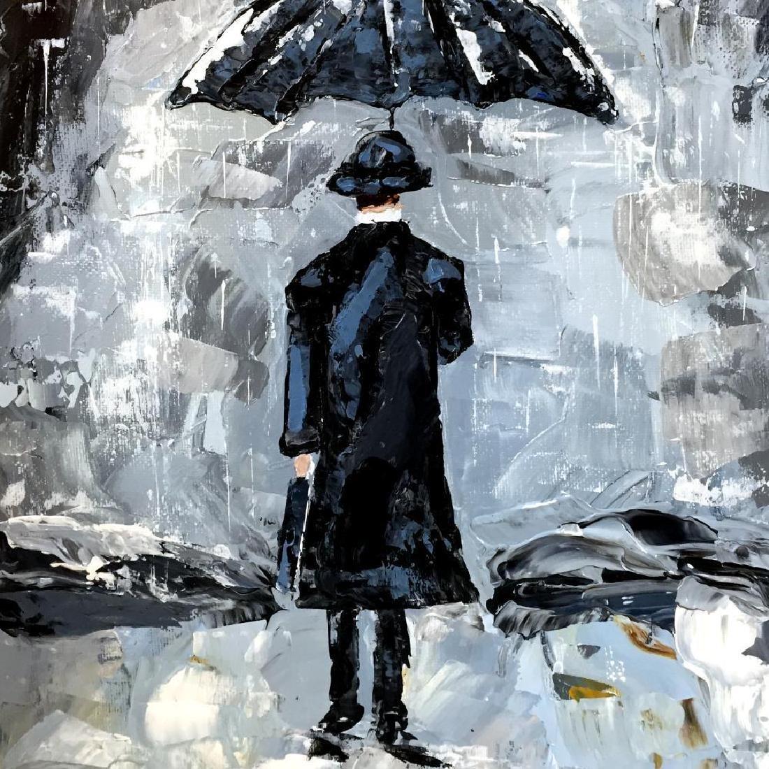 Man with Umbrella Textured Signed Original Palette - 3